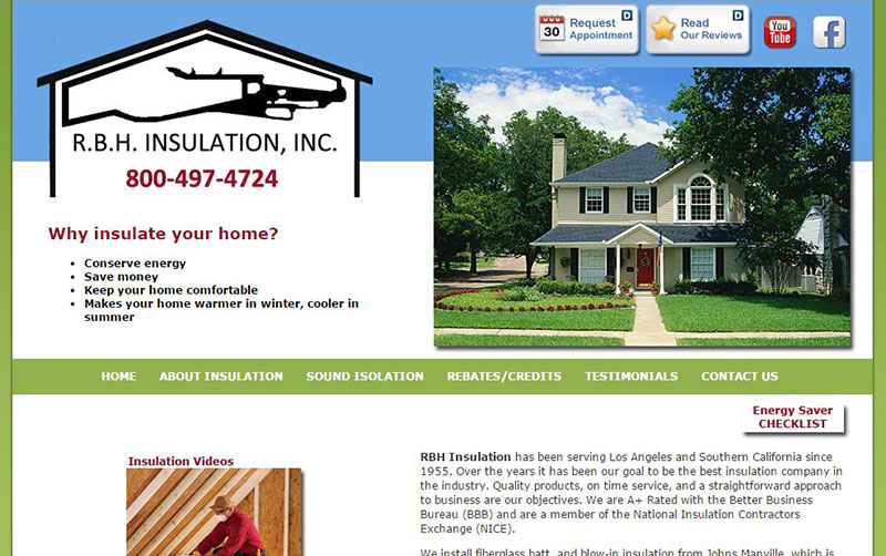 RBH Insulation HTML/CSS website designed and developed by Patricia Gill saidthespider.net in 2012
