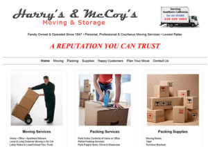Harry's Moving local business website developed in WordPress by Patricia Gill saidthespider.net