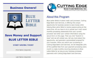 Cutting Edge Bank Card Services landing page for Blue Letter Bible